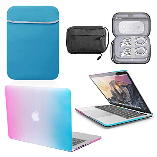 GUPi - Carcasa rígida azul arco iris, funda con funda de neopreno a juego y bolsa de accesorios resistente al agua para Apple MacBook [11' Air - A1370 / A1465-2010-2015]