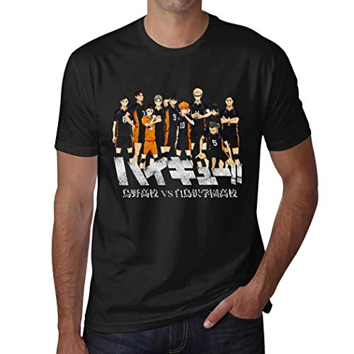 Addsomeing Funny Cool Mens H-ai-ky-u-u Volleyball T Shirt Cotton Leisure T Shirts XXL Black