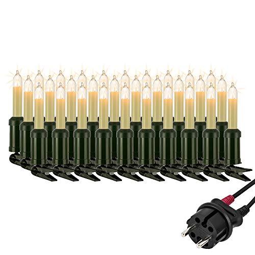 Hellum Lichterkette außen / 30 Glühfaden warm-weiß Schaftkerzen/Länge 29 m + 2x1,5 m Zuleitung, schwarzes Gummi-Kabel/Fassungsabstand 100 cm/teilbarer Stecker/Weihnachten / 846003