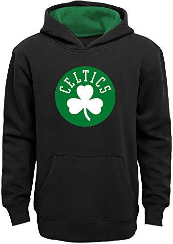 NBA Boys Youth 8-20 Team Color Primary Logo Prime Pullover Fleece Hoodie Sweatshirt (Boston Celtics Black, Youth Medium 10-12)