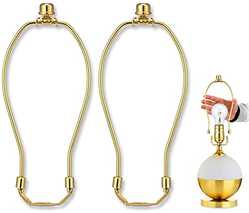 8 Inch Detachable Lamp Shade Harp Holder for Table and Floor Lamps,2 Set Heavy Duty Lamp Shade Bracket with 3/8 Standard Saddle and Lamp Finial,Polished Brass