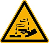 Aufkleber Warnzeichen Warnung vor ätzenden Stoffen Warnaufkleber ASR/ISO W023 SL50mm 12 Stück