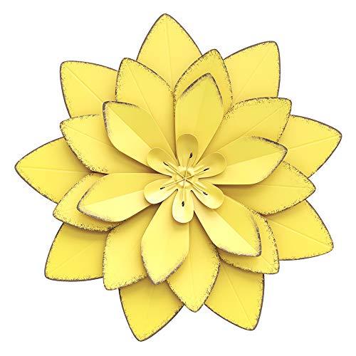 Wexbi Metal Flower Wall Sculpture - Flower Metal Wall Art Decor – Indoor and Outdoor Metal Wall Art Flower - Metal Wall Flowers for Decoration – Decorative Metal Flower Wall Decor (Yellow)
