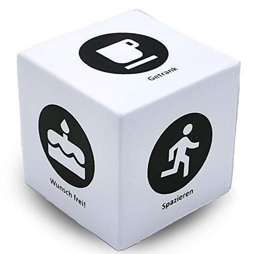 Anti Stress Würfel (Squishy)   Entscheidungswürfel - Lustige Geschenke für Männer - Knautschen / Entspannung als Beschäftigung / Zeitvertreib für Erwachsene - Kinder gegen Langeweile - Ø 5cm