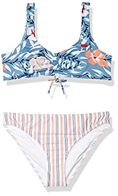 Roxy Girls' Big Chase Your Dream Athletic Swimsuit Set, Blue Heaven Pardee Sample, 10