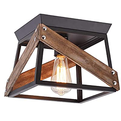 Eyassi Flush Mount Ceiling Light Fixtures, Farmhouse Close to Ceiling lamp, Industrial Black Metal Wood Lighting for Living Room Kitchen Island Bedroom Hallway Entryway Closet Office Laundry