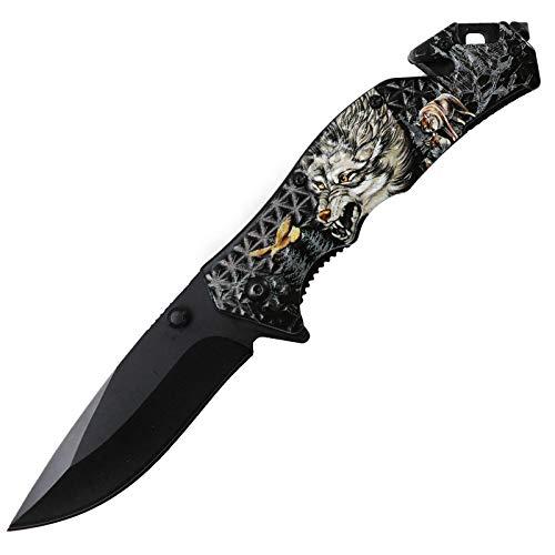 Jäger & Outdoor Klappmesser Taschenmesser Multifunktionsmesser mit Wolf Motiv Jagd Messer Geschenk