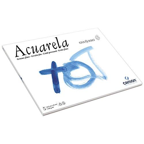 Canson Guarro Acuarela Blocco incollato 1lato carta acquerello grana fine 240g 20Fogli Bianco Grana fine 32,5 x 46 cm bianco