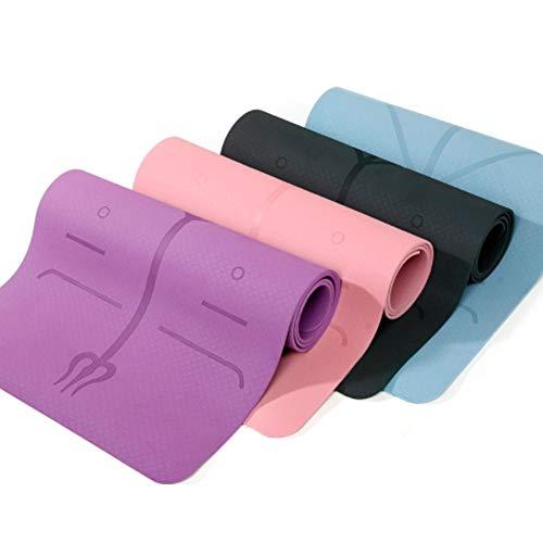 Verdicken Doppelte Schicht Doppelte Farbe Yoga Matte rutschfest Stretch Pilates Mat für Fitness Trainingsmatte (Rosa)