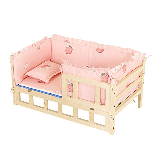 Dog Beds Pet Beds for Large Dogs, Wooden Cats Dogs Stairs Sofa with Detachable Bedding, Natural Extra Wide Steps Bed, 94 × 54× 36cm (Color : Pink)