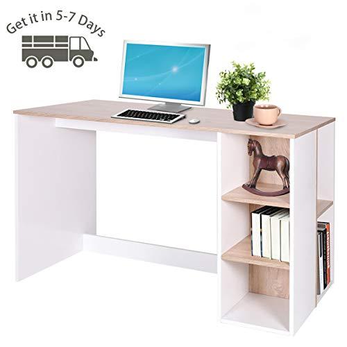 Coavas Computertisch Schreibtisch mit 5 Ablagen Große Arbeitstisch Modern Laptoptisch Bürotisch Office Tisch für Lernen Arbeit Zu Hause/ In Büro Eiche und Weiß