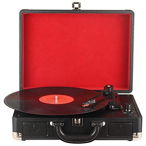 DIGITNOW! Belt-Drive 3-velocità stereo portatile Giradischi con altoparlanti integrati, supporta uscita RCA / 3.5mm AUX-IN/Jack per cuffie / MP3, telefoni cellulari della riproduzione musicale