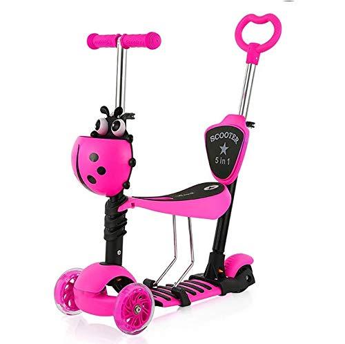 YOLEO Patinete para Niños 5-en-1, Patinete 3 Ruedas LED Parpadeantes, Scooter para Niños con Manillar Ajustable Asiento Extraíble de 2 a 8 años, Carga Máxima de 75 kg (Rosa)