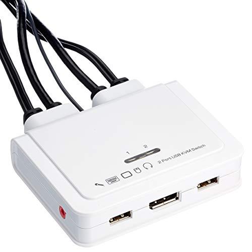 InLine 63615I KVM Switch, 2-fach, USB-C + DisplayPort zu DisplayPort 1.2, 4K, mit Audio, integr. Kabel