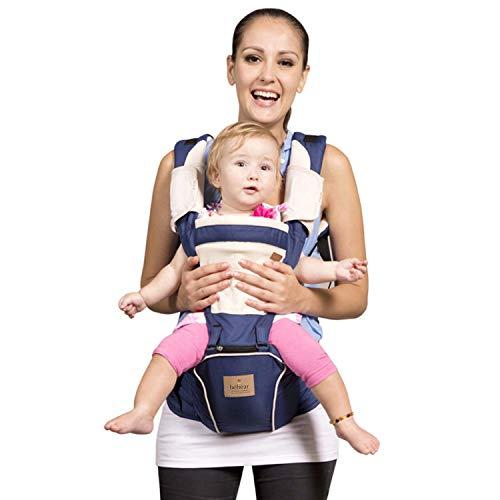 Bebamour Babytrage für 0-36 Monate Babytrage Hipseat 6 Carry Way (Dunkelblau)