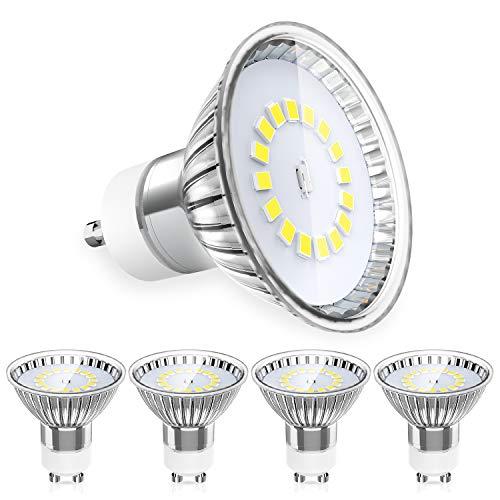 MLlichten Lampadine LED GU10 5W Equivalente Alogeno 40W 50W, 6000K Bianco Freddo, Non Dimmerabile Nessun Sfarfallio GU10 LED Lampada Riflettore, AC 220-240V GU10 LED Lampadina, Confezione da 5