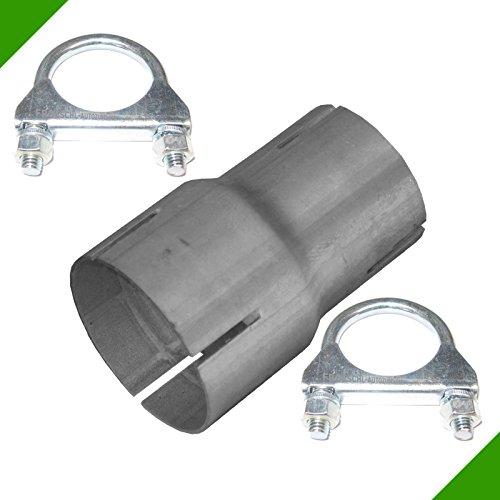 Reducción de 50 mm a 60 mm, adaptador de tubo de escape, incluye 2 abrazaderas, pieza reductora de abrazadera, reductor de tubo de escape, reductor de tubo de escape