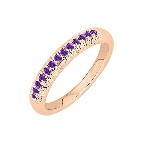 KATARINA Alianza de boda con piedras preciosas en oro de 14 K (5/8 cttw)