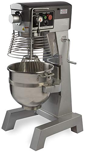 Chef's Exclusive CE745 Commercial All Purpose Gear Driven Planetary Floor Mixer with Timer 2 HP Motor and Safety Interlock Includes Dough Hook Flat Beater and Wire Whip, 30 Quart, Metallic