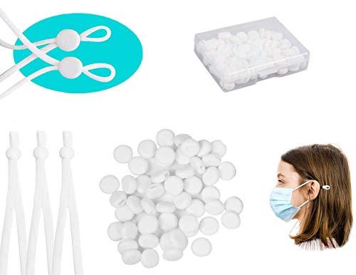 Ajustador de Cuerda Cierres de Cordón de Silicona, Ajustador de Bandas Elásticas, Hebilla de Cuerda Ajustable para Costura DIY (Blanco, 100Pcs)