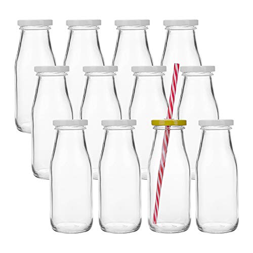 Kingrol 12 Pack Glass Milk Bottles, 11 oz Vintage Drinking Jar Bottles, Reusable Dairy Bottles with 12 Straws, 12 White Metal Lids & 12 Yellow Lids with Hole