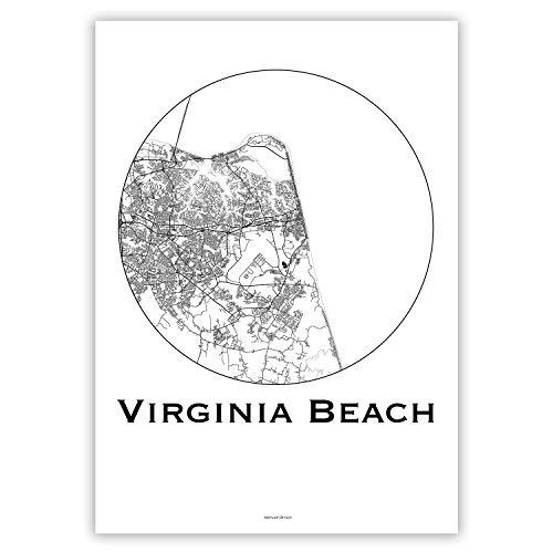 Plakat Virginia Beach USA Minimalist Map - Poster, City Map, Dekoration, Geschenk