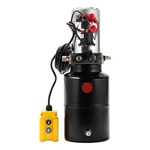 CO-Z Hydraulic Pump for Car Lift, 6 Quart Single Acting Hydraulic Power Unit for Dump Truck Dump Trailer with Steel Reservoir, Double Hydraulic Cylinder of 12V Power Supply
