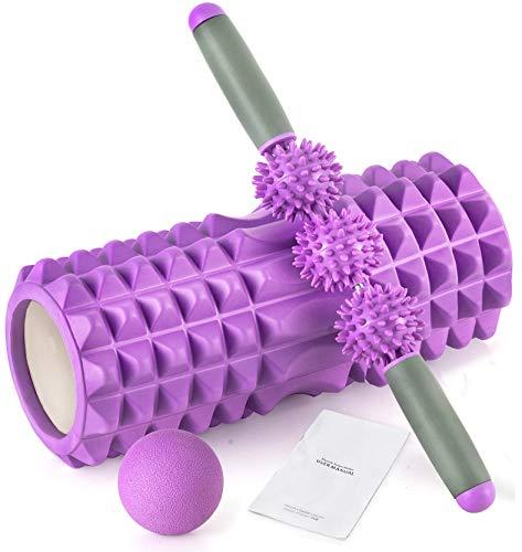 HBselect Set Rullo di Schiuma 3 in 1 Attrezzi Fitness per Casa e Palestra Foam Roller con Bastone da...