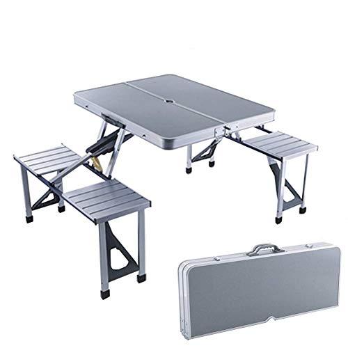 DX Mesa de Picnic Familiar, Mesa Plegable de Aluminio Ajustable portátil y Juego de Banco Mesa de Taburete de 4 sillas, para Playa al Aire Libre Camping Garden Party BBQ - Gris