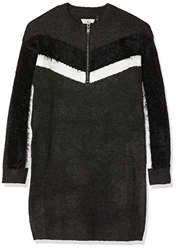 IKKS Junior Robe Maille Mix Matiere Zippee Vestido, Gris (Gris Chine Anthra Foncé 27), Small para Niñas