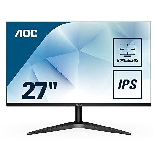 AOC 27B1H 27' Full HD 1920x1080 Monitor, 3-Sided Frameless, IPS Panel, HDMI/VGA, Flicker-Free (Renewed)