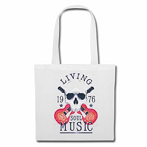 Tasche Umhängetasche Living Soul Musik Skull Gitarre Techno Jazz Funky Soul Trance Festival House Hiphop HIP HOP DJ Einkaufstasche Schulbeutel Turnbeutel in Weiß