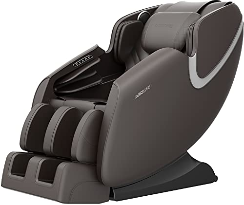 BOSSCARE Massage Chair Recliner with Zero Gravity, Full Body Airbag Massage Chair with Bluetooth Speaker, Foot Roller Brown