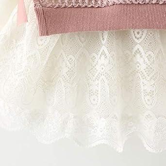 vestido de princesa falda de punto para oto/ño e invierno 2 piezas LZH Vestido de ni/ña de algod/ón rosa para beb/é