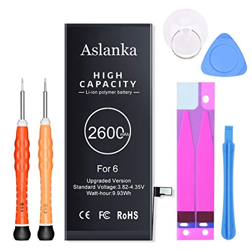 Aslanka Battery for Model iPhone 6, Upgraded High Capacity 2600mAh Battery Replacement with Repair Tool Kit and Instructions -2 Years Warranty Extend