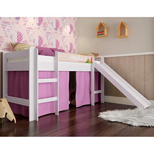 Cama elevada com escorregador Completa - Rosa