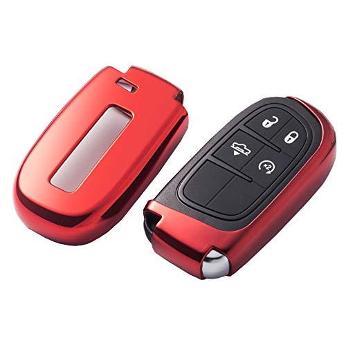 ontto Smart-Autoschlüssel Hülle Abdeckung Schlüssel Tasche TPU Silikon Schlüsselschutz Schlüsselanhänger für Jeep Grand Cherokee Dodge-Challenger Charger Dart Durango Journey Chrysler 300- (red)