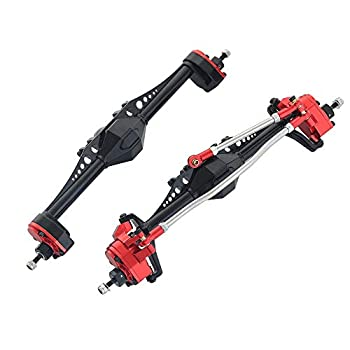 Andifany Aluminum Alloy Portal Axle for 1/10 RC Crawler Car Axial Capra 1.9 UTB AXI03004 Currie F9 Upgrade Parts,Red Front/Rear