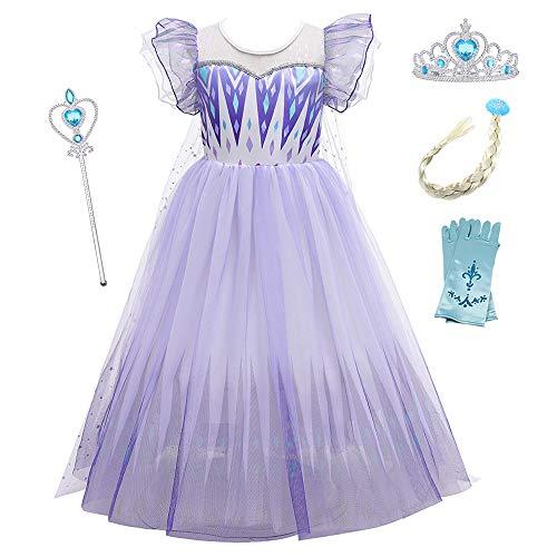 O.AMBW Vestido con Capa Disfraces con Accesorios Manga con Volantes Falda Gradiente Color Violeta Disfraz de Frozen Cosplay Princesa para Carnaval Fiesta de Halloween para niñas de 2 a 10 años