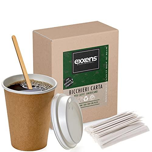 100 Bicchieri Grandi Di Carta Con Coperchio Asporto E Palette Per Caffe Americano, Cioccolata Calda, Tisane, Cocktail, Cappuccino, Tazza Termica Caffè (100)