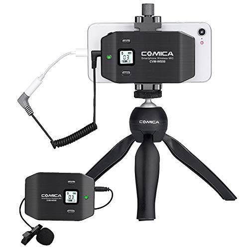 Comica CVM-WS50(C) Wireless Lavalier Microphone with UHF 6 Channels, Built-in Rechargeable Battery, Wireless Lapel Microphone for iPhone Samsung Huawei,Smartphone Lav Mic for YouTube Vlog Recording