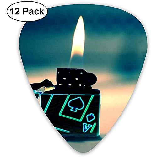 Kunst Aansteker Gitaar Pick Set Gitaar Bas Mandolin Ukulele 0.46mm 0.71mm 0.96mm 12 Pack Gitaar Picks Plectrums Met Picks Houder