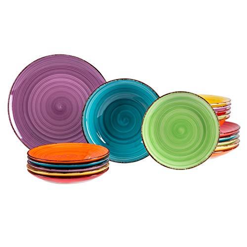 MamboCat 18tlg. Teller-Set Uni bunt | Edles Steingut-Geschirr | Speiseteller + Suppenteller 750 ml + Kuchenteller | 6 Farben | mediterran