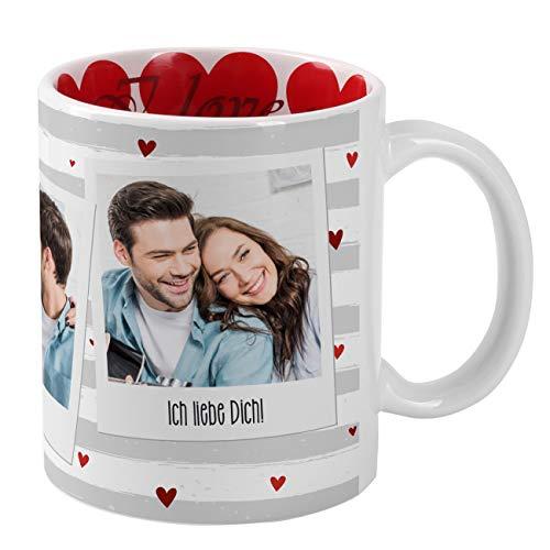 Herz & Heim® Herz-Tasse mit Fotos bedruckt zum Valentinstag - viele Herzen und I Love you im Inneren des Kaffeebechers