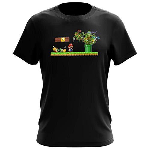 T-shirt Homme Noir parodie Tortues Ninja - Super Mario - Leonardo, Raphael, Donatello, Michelangelo et Mario - La revanche des Tortues (Super Deformed Edition) (T-shirt de qualité premium de taill