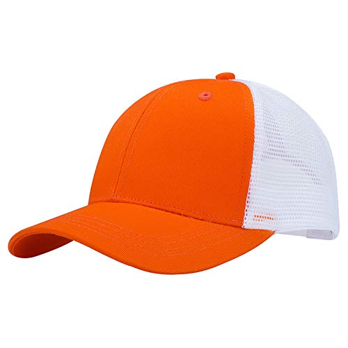 Pareja Sombrero para el Sol Gorra de béisbol para Hombre de Doble Cara Color sólido Sombrero de Pescador Gorra Naranja Rojo Ajustable