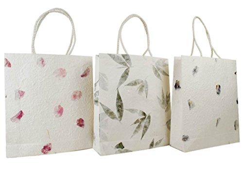 Eco Bags Bolsas de Regalo Hecho a Mano Medio Buganvilla, Iris y hojas - Pack de 3 (31cm x 29cm x 7cm)