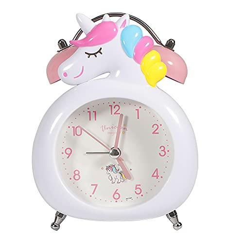 TCJJ Retro Reloj Despertador de Doble Campana con luz Nocturna,Batería Unicornio Despertador Analógico con Alarma Potente,sin tictac, silencioso