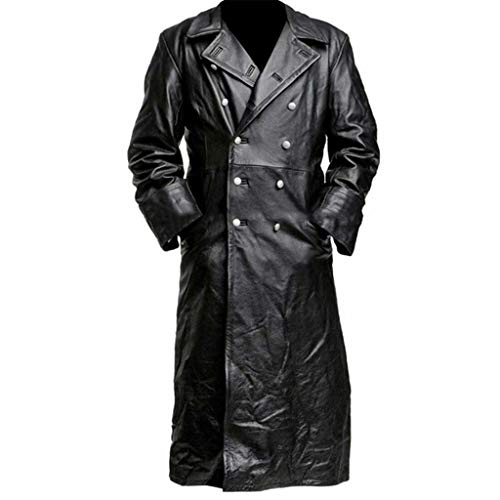 Find Bargain QIUSge Mens Long Leather Jacket Male Trench Coat Medieval Vintage Clothes Cool Outwear ...