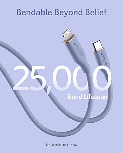 Anker PowerLine III Flow, USB-C auf Lightning Ladekabel PD, kompatibel mit iPhone 12 Pro Max/12/11 Pro/X/XS/XR/8 Plus, AirPods Pro, 180cm, Apple MFi-zertifiziert, Silikagel (in Lavendel)